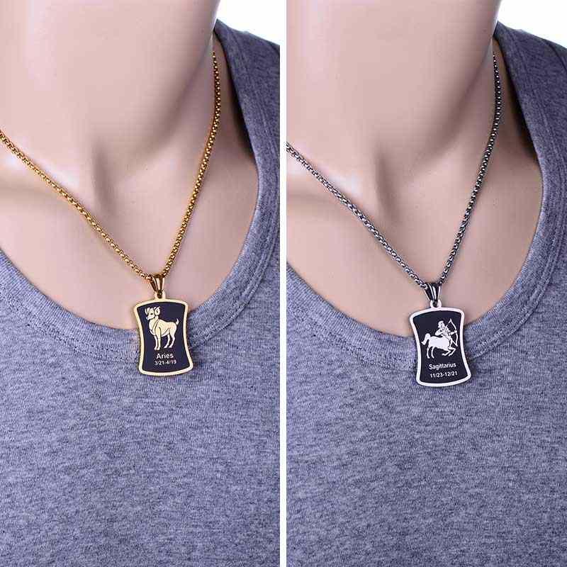 Moda 12 collar pendiente constelación para hombres mujeres estilo Acero inoxidable cuadrado Cadena de palomitas de maíz collar Zodíaco joyería