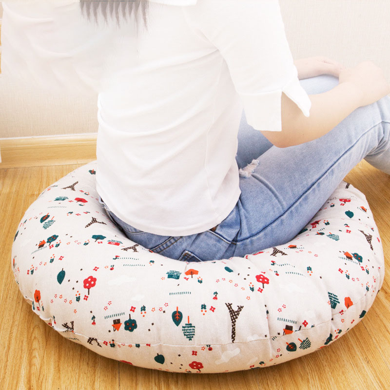 Cotton Cushion Thicken Bigger Round Cotton Linen Tea Ceremony Meditate Japanese-style Tatami Pillow Pillowcase Sofa Cushion