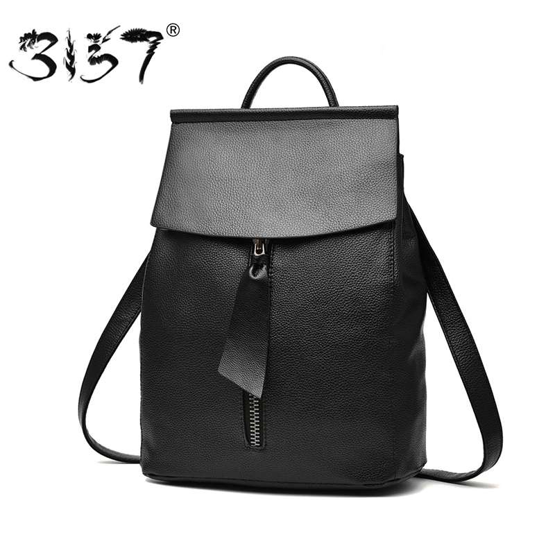 women leather font b backpack b font small minimalist solid black school bags for teenagers girls