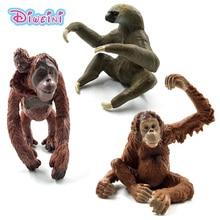 Sloth Orangutan Chimpanzee gorilla gibbon Monkey animal model action figure plastic Decoration educational toy Gift For Kids