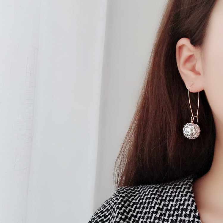 Оптовая Продажа корейские новые популярные серьги аксессуары хрустальный шар Висячие серьги для женщин длинные серьги Модные ювелирные изделия 2019