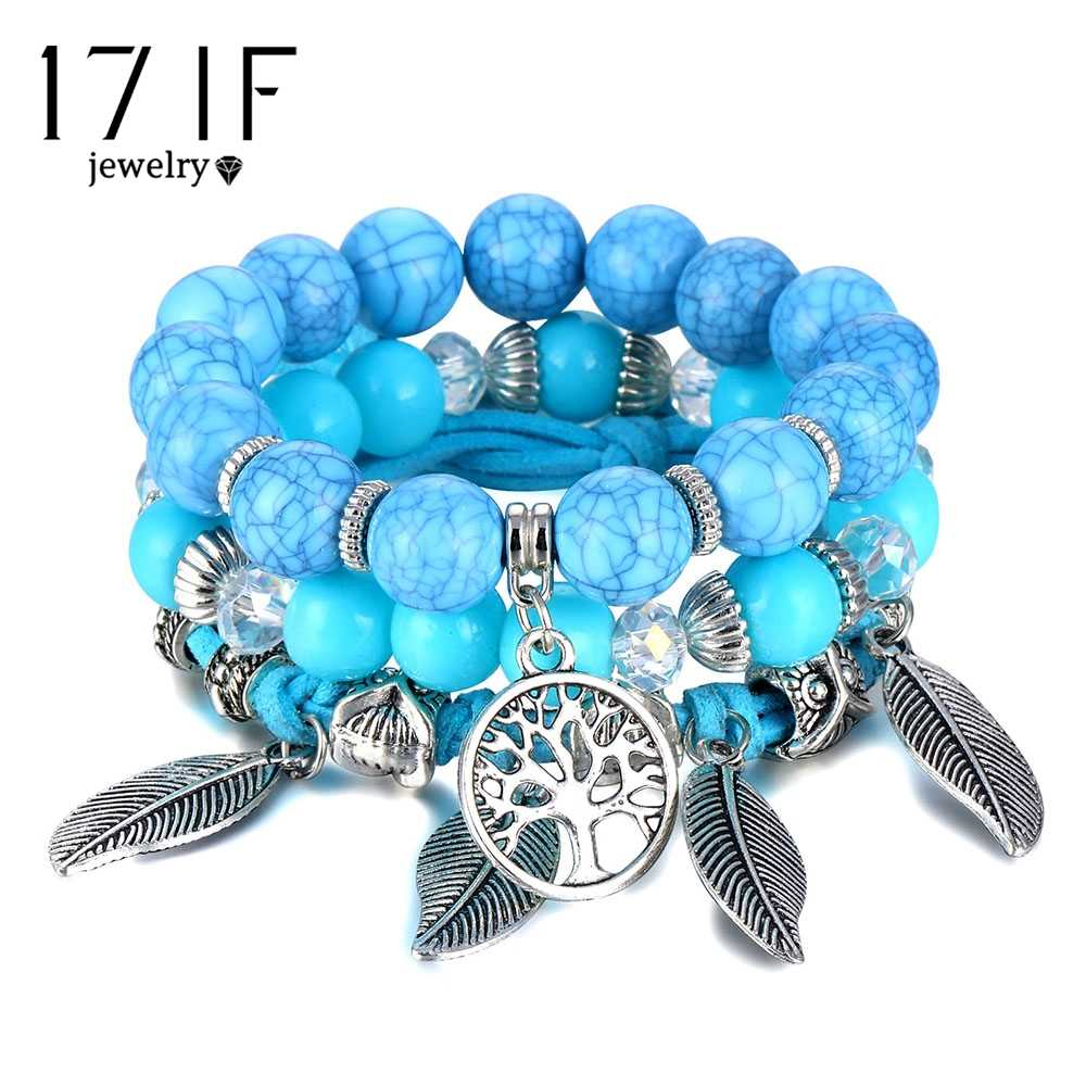 Classic Tree of Life Bracelet Set For Women Multilayer Natural Stone Vintage Leaf Charms Beads Bracelets & Bangles Jewelry Gifts