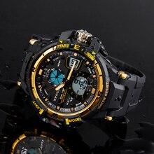 420017a0059 Epozz relógio de Dupla Afixação relógio do esporte Resistente Ao choque  horas Masculino pulseira de Borracha