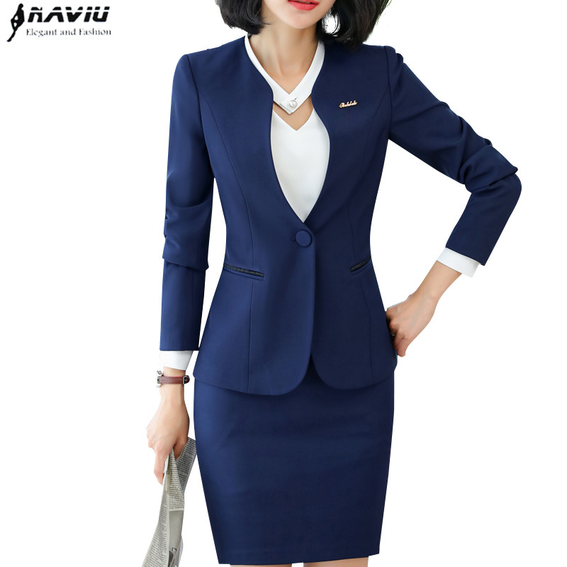 Professional wear New temperament fashion women skirt suits OL formal long sleeve slim blazer and skirt