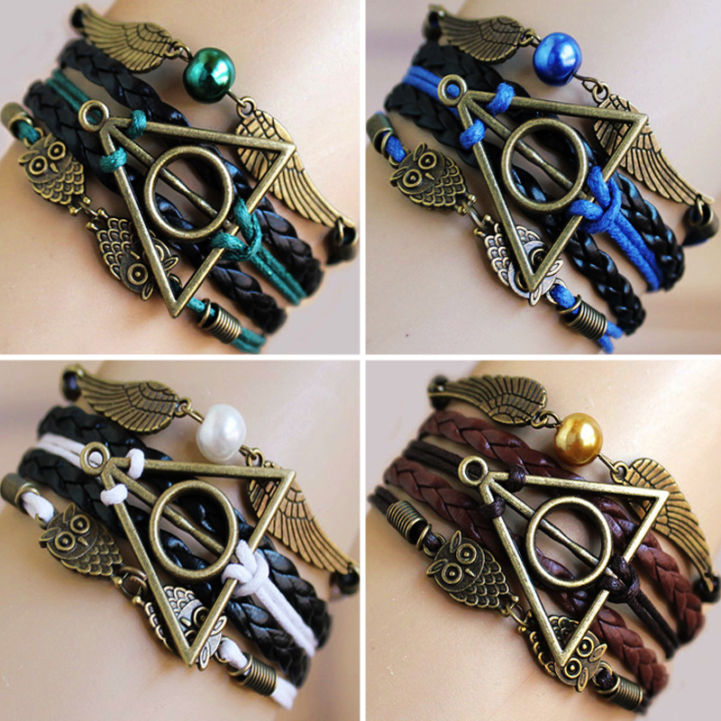 Bracelets Vintage Owl Harry Potter and the cursed child wings Infinity Bracelet deathly hallows bracelet & Bangle good gift