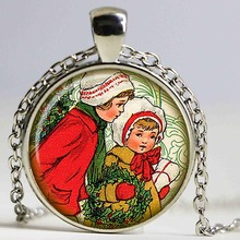 Christmas Kids necklace Christmas pendant Car Handmade necklace with Glass Inlay Christmas Gifts New Year Pendant