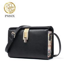 Genuine Leather handbag  Pmsix  2016 new fashion shoulder Messenger Bag Chinese wind small square package