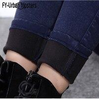 female jeans trouser women warm winter jeans velvet high waist elastic denim cotton pencil pants skinny jeans woman plus size