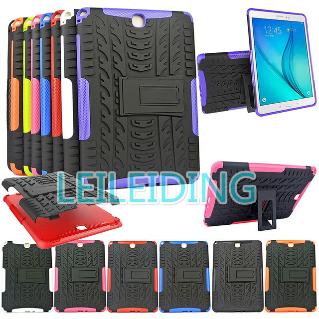"Hybrid Stand Hard Silicone Rubber Armor Case Cover For SAMSUNG Galaxy Tab A 9.7"" inch Tablet SM-T555 T550 555 550 candy colors"