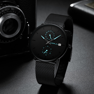 Image 3 - Crrju relojes de moda de hombre de marca superior reloj de cuarzo de lujo Casual delgado de malla de acero impermeable deportivo