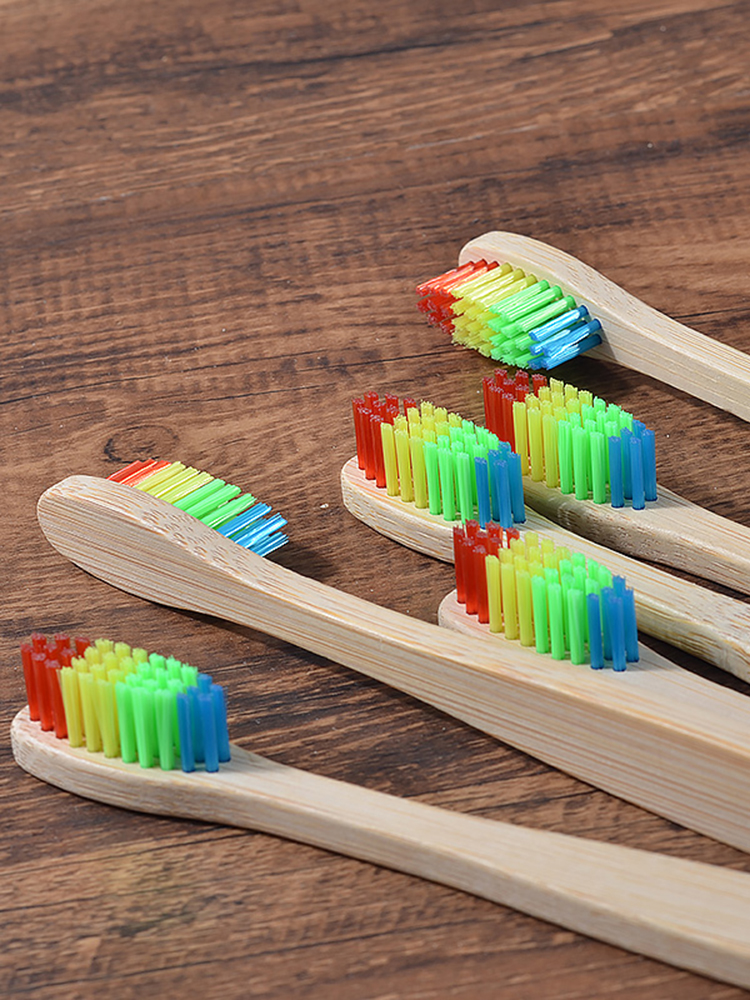 Bamboo Toothbrush Oral-Care Charcoal Wooden Eco-Friendly Soft-Bristle Mixed-Color Adults