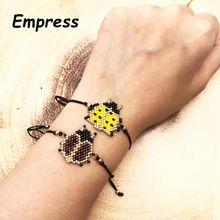 FAIRYWOO New Ladybird Bracelets Miyuki Handemade Glass Bead Charm Bracelet Vintage Luxury DrawString For kid Women Gift