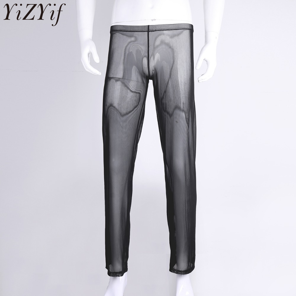 YiZYiF Mens Loose See Through Gauze Pants Lingerie Breathable Underwear