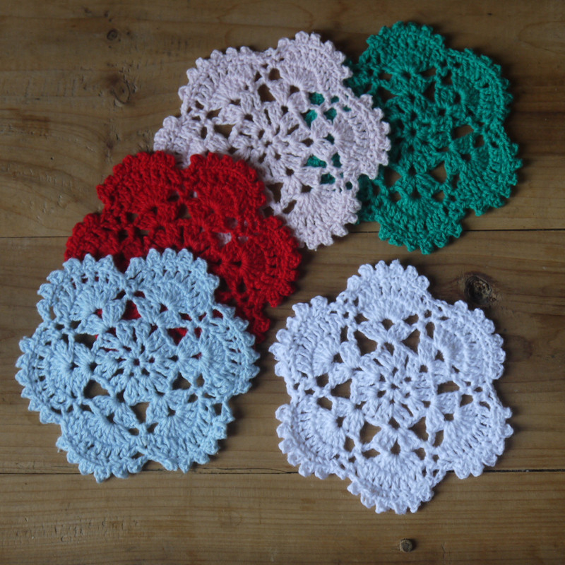 40pcs Cotton Handmade Made Crochet Doilies Cup Mat Pad