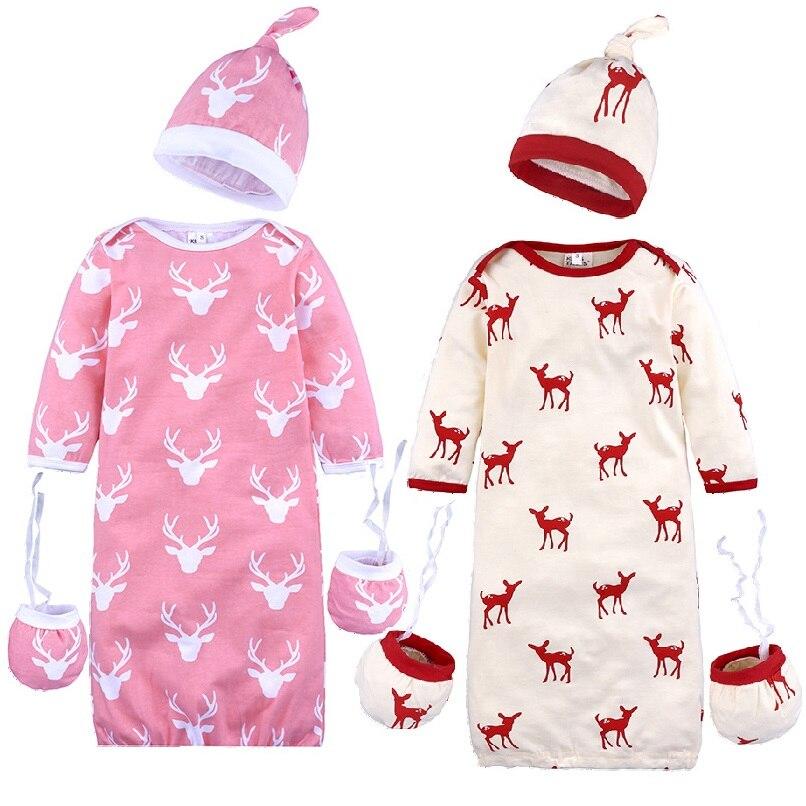 Weihnachten Baby Schlafsack Neugeborenen Sleep Baby Mädchen Empfang Decke Umschlag Infant Swaddle Strampler Caps Handschuh 3 Stücke Anzug Halten Sie Die Ganze Zeit Fit