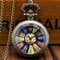 New Arrival Vintage Antique Style Compass Glass Cover Retro Pocket Watch with Necklace Chain Fob Watch Gifts for Free Shipping