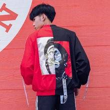 Zogaa 2019 Autumn New Mens Jacket Loose Contrast Color Clown Pattern Korean Baseball Uniform Trend Clothes