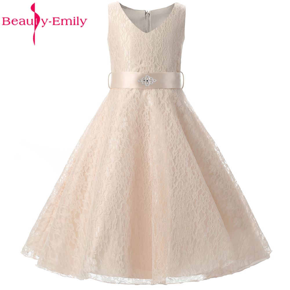 Beauty-Emily   Girls   Wedding Party   Dress   Graduation Gown Children Lace Belt   Flower     Girl     Dresses   2017 Pageant Princess   Dress