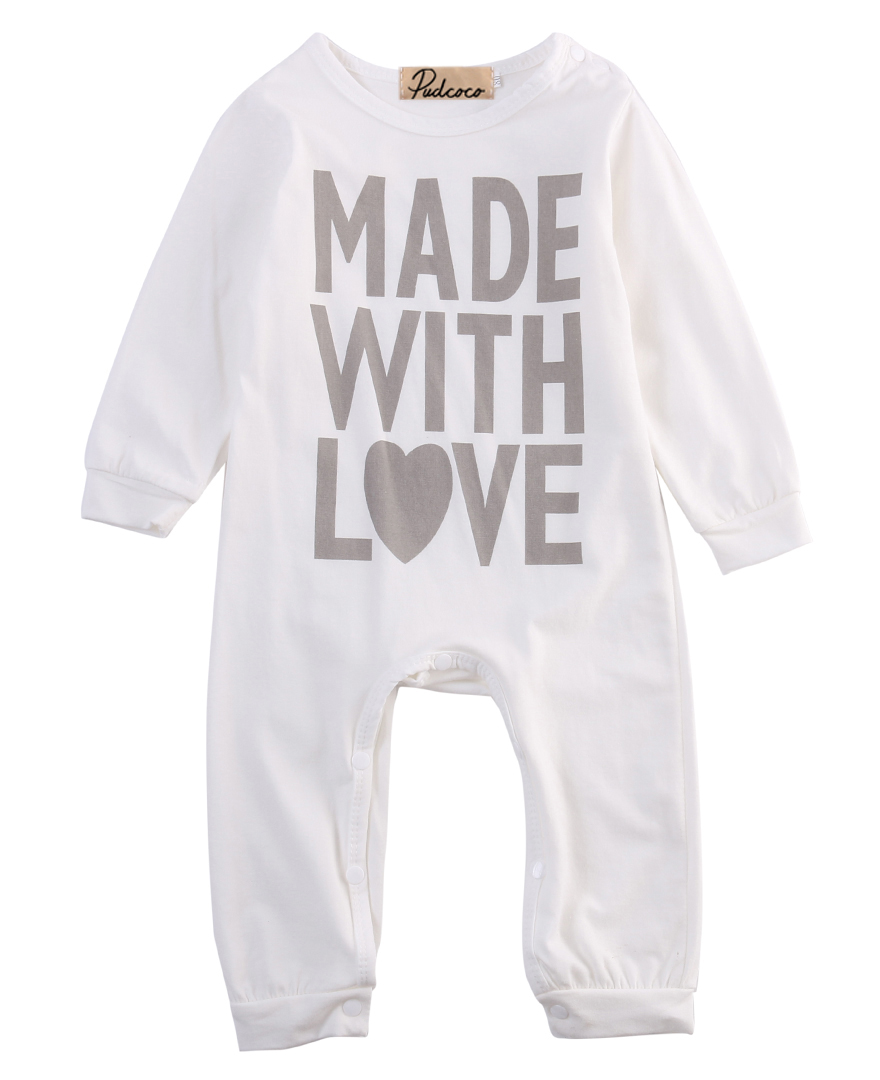 High Quality Cotton Infant Toddler Baby Girls Boy Clothes Letter Printing Long Sleeve Warm Autumn White Baby Romper Outfits Set