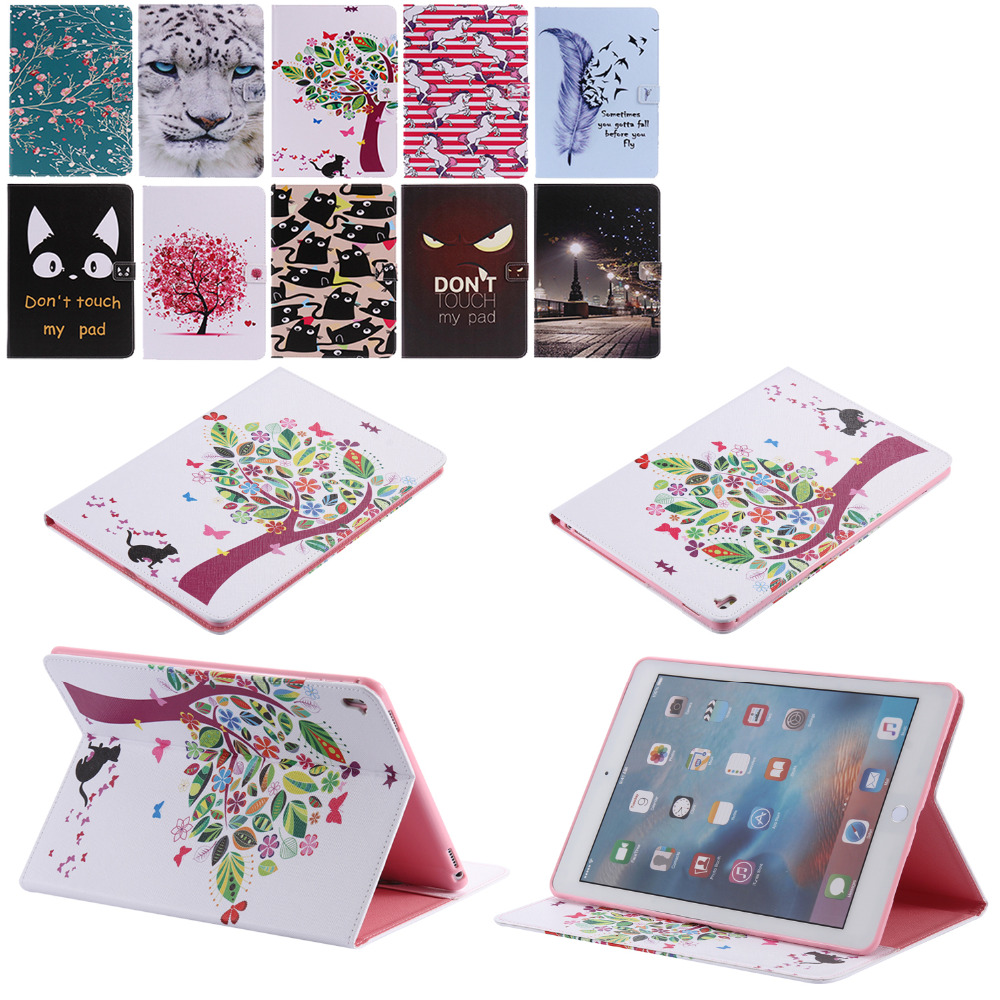 Fashion painting characters Case For Apple iPad pro 9.7 Case Cover Cute PU Leather Case tablet leather case for ipad pro 9.7
