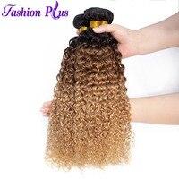 Malaysian Hair Bundles Curly Human Hair Weave Bundles 3 Tone Ombre Hair Bundles Weave 1B/30/27 Weave Extensions Fashion Plus