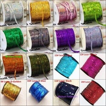 100 Yards/Lot 6mm paillettes Laser couture sur garniture couture plat rond Paillette cordes en rouleau pour décoration artisanat vêtement accessoire