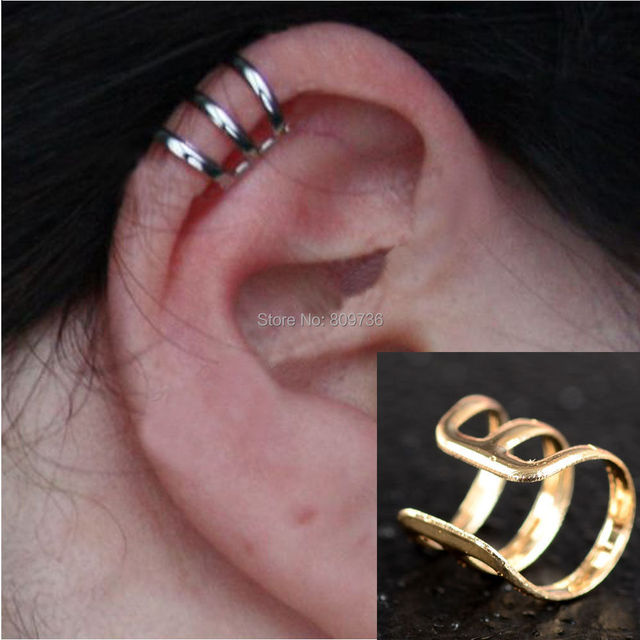 2pcs New Punk Rock Ear Clip Cuff Wrap Earrings No Piercing