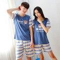 Parejas de los hombres de manga corta de verano mujer ropa de dormir de verano de dibujos animados Pijamas Conjuntos Casuales de algodón chándal traje S2049
