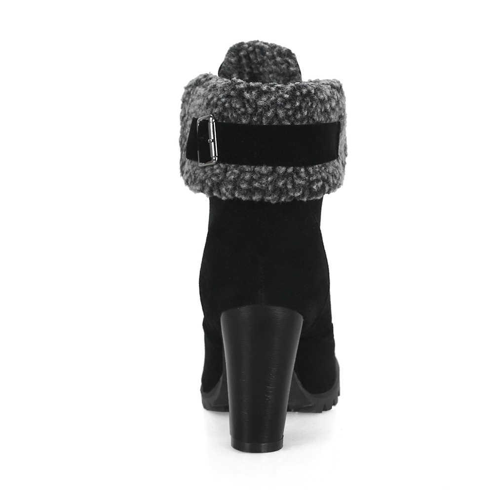 BONJOMARISA Artı Boyutu 32-44 Kürk Kar Botları Kadın Sonbahar Kış 2019 dantel-up çeviklik Kenarları 8 Cm Yüksek Topuklu Ayakkabı Kadın
