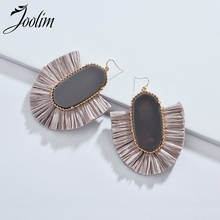 Joolim Jewelry Wholesale/ High End Gray Red Cream Raffia Tassel Earring Drop Dangle
