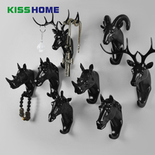 Creative Wall Decoration Deer Horns Horse Elephant Giraffe Rhino Goat Hook Hanging Clothes Hat Scarf Key Jewelry Hanger Rack