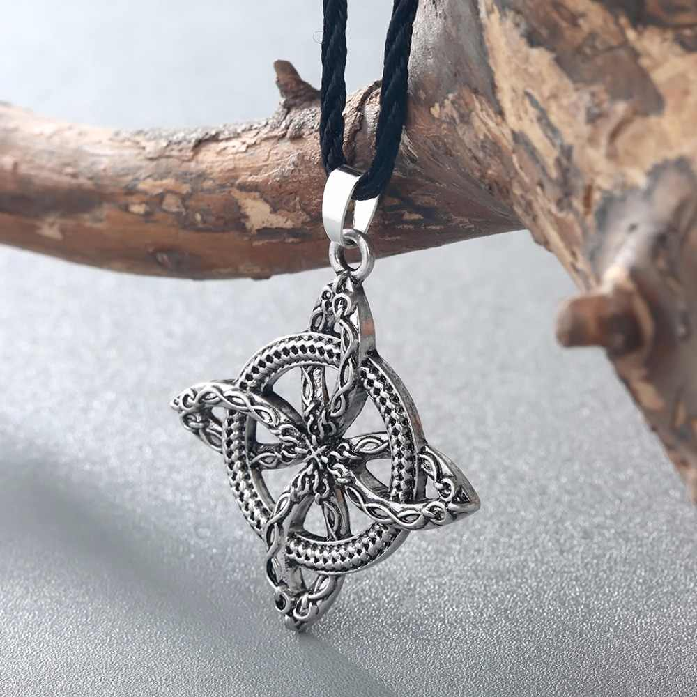 CHENGXUN Men Viking Overcoming Grass Slavic Amulet Fern Flower Pendant Necklace Love Knot Amulet Jewelry Protect Against Illness