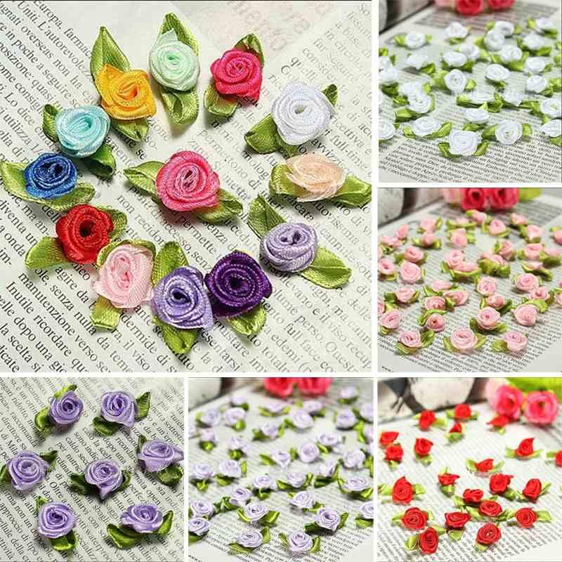 100 juostelės rožių lapai vestuvių gėlių satino dekoro lankas - Drabužių priedai