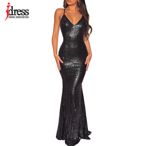 Image 3 - IDress 2019 Black/ Gold/ Green Women Elegant V Neck Sleeveless Evening Party Maxi Long Dress Sexy Backless Sequin Vestidos Longo