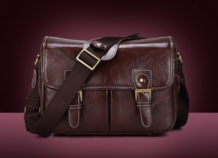 Coffee Retro Pu Leather Waterproof DSLR SLR Camera Case Shoulder Bag For Nikon Canon Sony