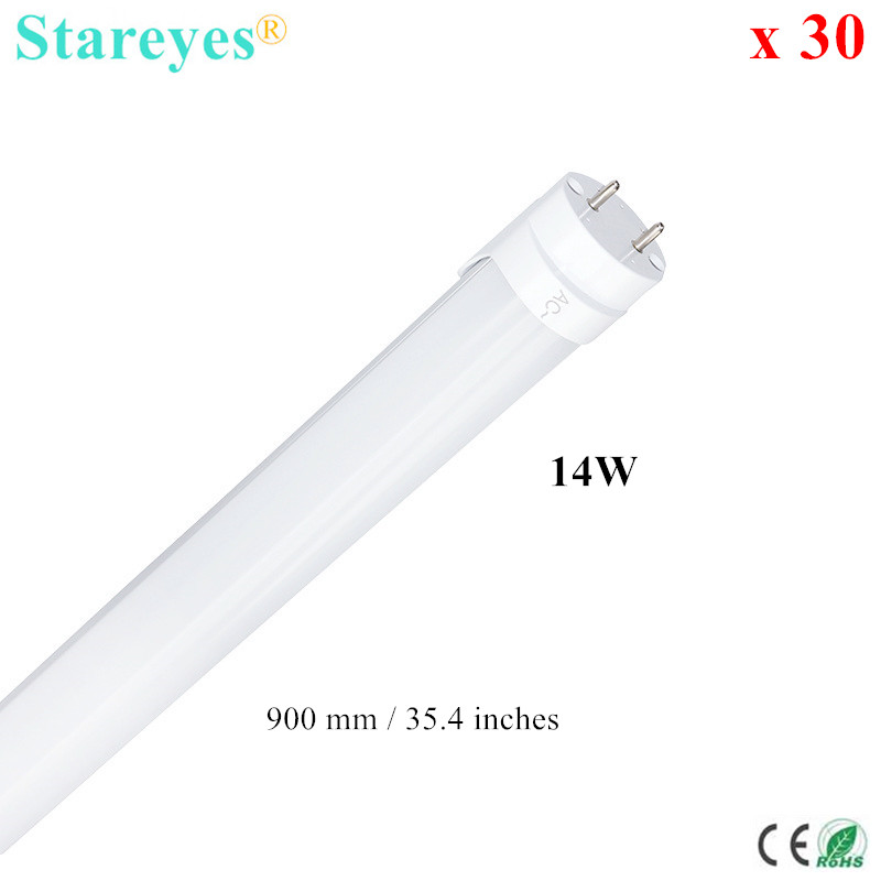 Free shipping 30 pcs 90cm T8 LED Tube light 14W SMD 2835 70 LED Epistar Chip High brightness 1120Lm lamp bulb light AC85-265V ...