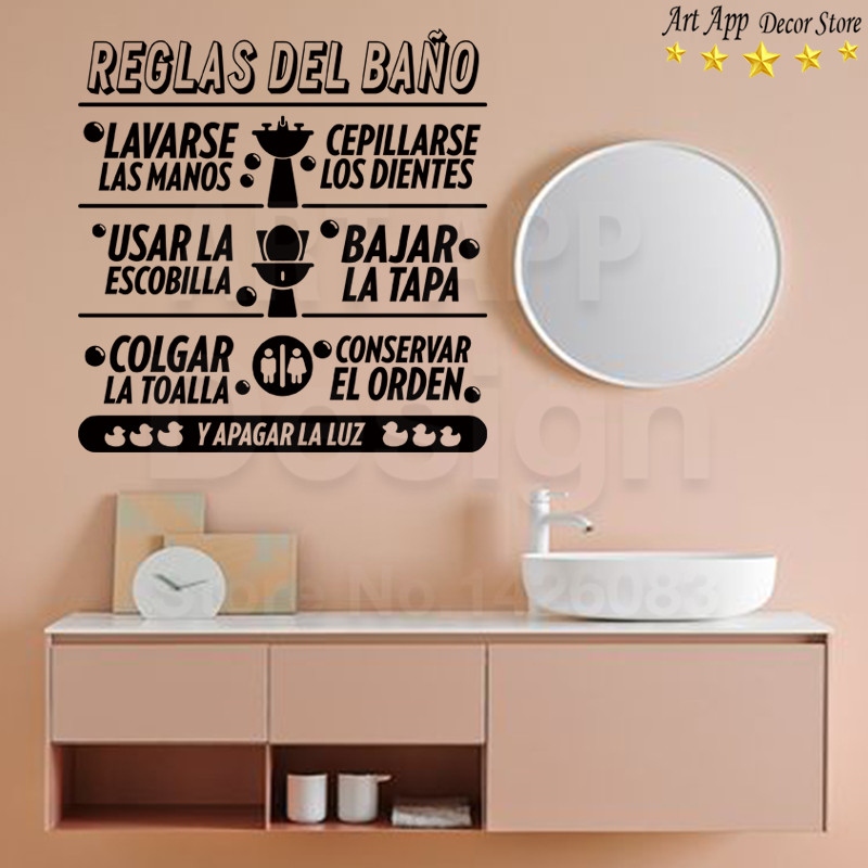 Good quality bathroom rules spanish sticker house decor new Art Design washing room Vinyl Wall decals removable toilet paster