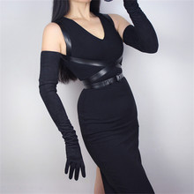 Woman Suede Gloves Extra Long 70cm Section Over Elbow Imitation Genuine Leather PU Unlined Export P20-1