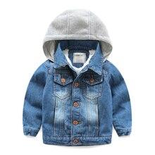 Детская джинсовая куртка с новым 2016 бархат пальто младенца хан издание ковбой одежда детей с толщиной джинсовый жакет
