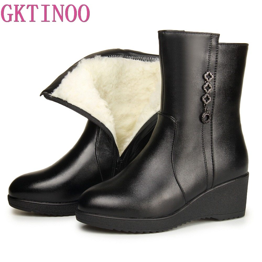 GKTINOO Women Winter Shoes Women Genuine Leather Women Shoes Warm Natural Wool Snow Boots Platform High Quality Mid Calf Boots