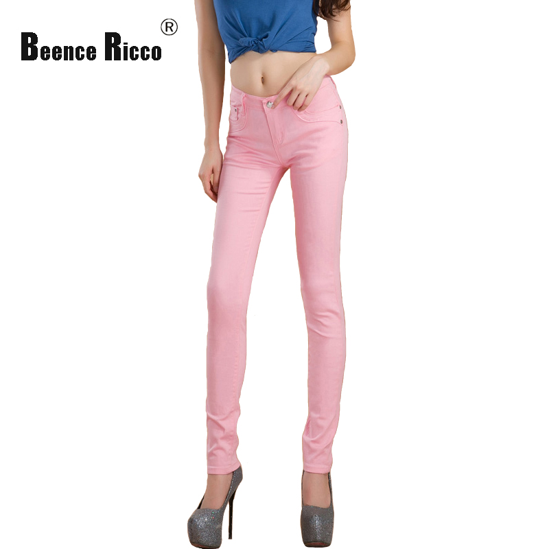 Spring women jeans denim cotton low waist plus size slim pencil pants pink elastic skinny long summer autumn trousers femme W116 rosicil new women jeans low waist stretch ankle length slim pencil pants fashion female jeans plus size jeans femme 2017 tsl049