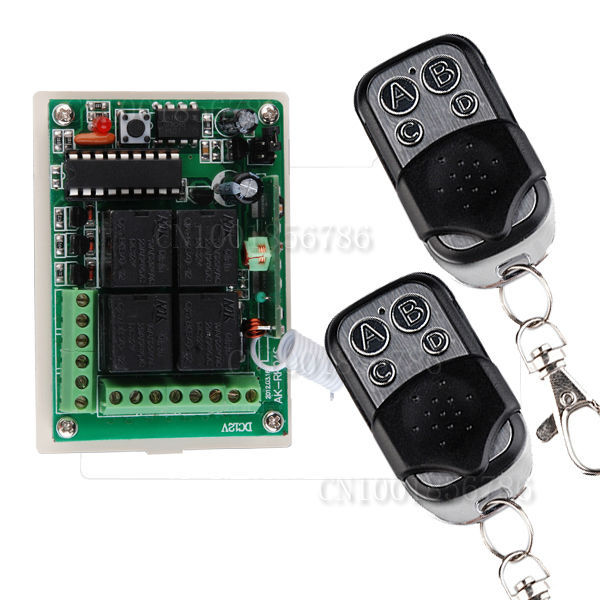 DC 12V 10A 4CH Learning Code RF Wireless Remote Control Light Switch Systems &1 Receiver 2 controller Outputis Adjustable