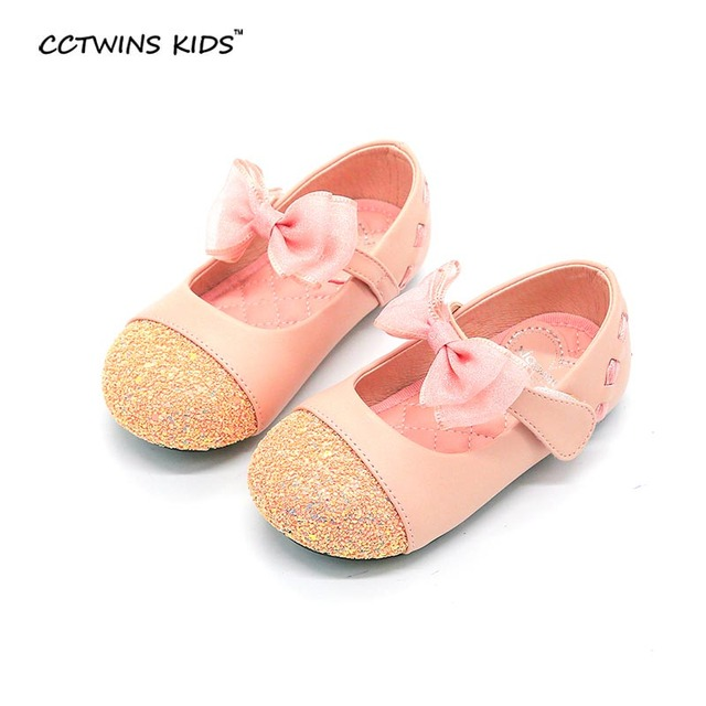 CCTWINS KIDS 2017 spring autumn toddler brand pink bow dance for child black pu leather shoe baby girl party flat glitter G952