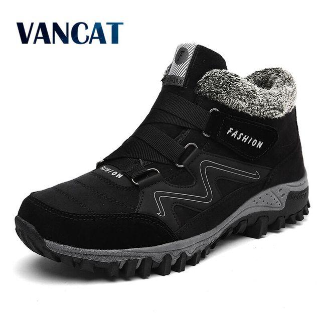 Vancat Мужские ботинки зимние с Мех Теплые зимние сапоги 2017 года Мужские зимние сапоги работы Обувь Для мужчин обувь модные резиновые ботильоны 39-46