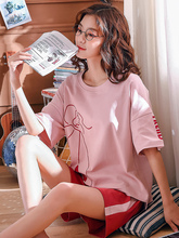Pajamas Women Summer 2019 Casual Cartoon Print Short Sleeve Shorts 2 Piece Large Size Home Clothing pijama mujer