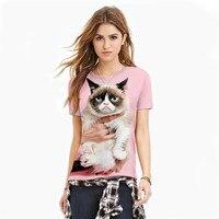 Novo 2016 Kawaii Das Mulheres T-shirts Gato Impresso plus size Rosa T-Shirt de Manga Curta Camiseta Mulheres Tops Tees Atacado