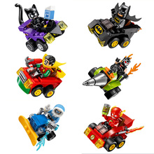 DC comic super heroes Bumper car building block Batman catwomen Bane Robin Flash minifigures compatible legoes 76061-76063