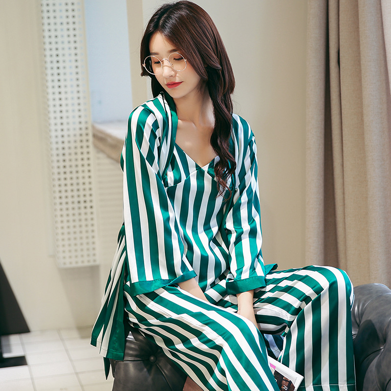 Pajamas   Women's Sleepwear   Pajama     Sets   Striped Print Spaghetti Strap Cami + Pants + Robe   Pajama     Set   Three-piece   Set     Pajamas