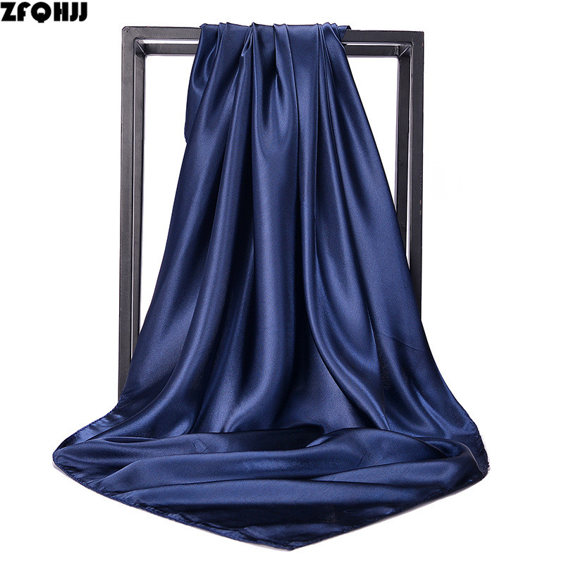ZFQHJJ 90*90cm Women Plain Square Scarf Silk Satin Hijab Scarves Office Ladies Hostess Stewardess Neckerchief Hair Head Band