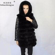 Linhaoshengyue модные лисы меховое женское пальто с теплым капюшоном зимние теплые съемные рукава кожаные рукава